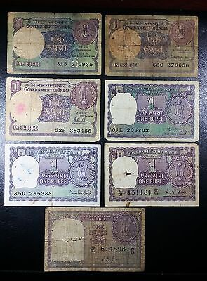 INDIA: Collection of 7 Notes 1 Rupee P-75e 77l 77t 77v 78 78Aa 78Ad 1957 1966-80