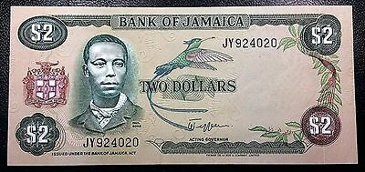 JAMAICA: 1982-1986 $2 Banknote P-65a Sign. 6 **UNC CONDITION** FREE COMBINED S/H