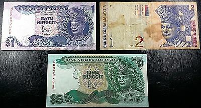 MALAYSIA: Lot of 3 Notes 1 2 5 Ringgit 1998 P-27b 28b 40 ◢ FREE COMBINED S/H ◣