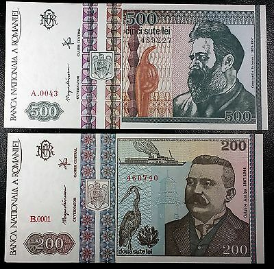 ROMANIA: 1992 200 Lei 500 Lei Notes, P-100 P-101 **UNC** ◢ FREE COMBINED S/H ◣