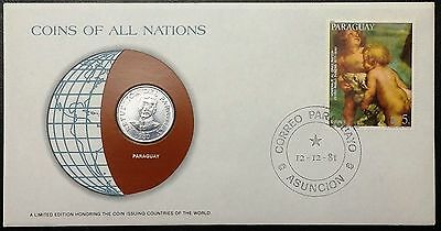 Coins of all Nations Series - 1980 Paraguay 50 Guaranies - Coin & Stamp Set - BU