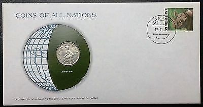 Coins of all Nations Series - 1980 Zimbabwe 20 Cents - Coin & Stamp Set - BU