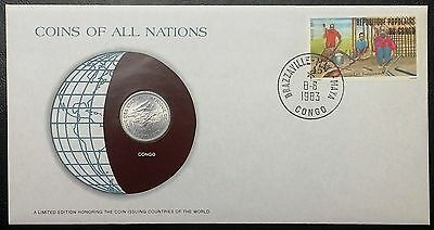 Coins of all Nations Series - 1976 Congo 1 Franc - Coin & Stamp Set - BU