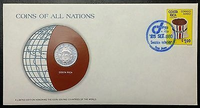Coins of all Nations Series - 1982 Costa Rica 25 Centimos Coin & Stamp Set - BU