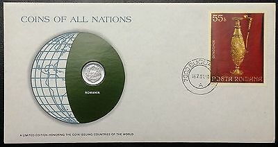 Coins of all Nations Series - 1975 Romania 5 Bani - Coin & Stamp Set - BU