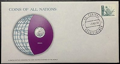 Coins of all Nations Series - 1969 Brazil 1 Centavo - Coin & Stamp Set - BU