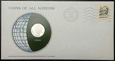 Coins of all Nations Series - 1980 Uruguay 1 Peso - Coin & Stamp Set - BU