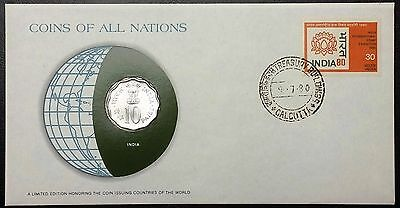Coins of all Nations Series - 1979 India 10 Paise Coin - Sealed in COA Card - BU