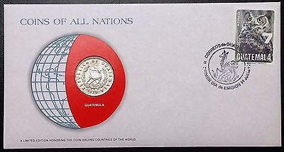 Coins of all Nations Series- 1979 Guatemala 25 Centavos - Sealed in COA Card -BU