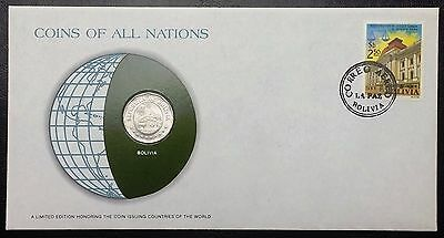 Coins of all Nations Series - 1972 Bolivia 25 Centavos - Sealed in COA Card - BU