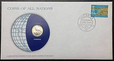 Coins of all Nations Series - 1971 Indonesia 25 Rupiah  - Sealed in COA Card -BU