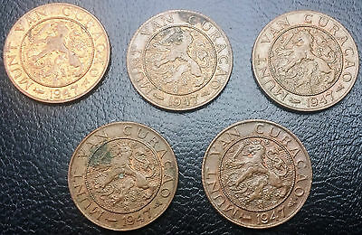 Lot of 5 Curacao 1947 Bronze 1 Cent Coins - Great Condition - KM# 41