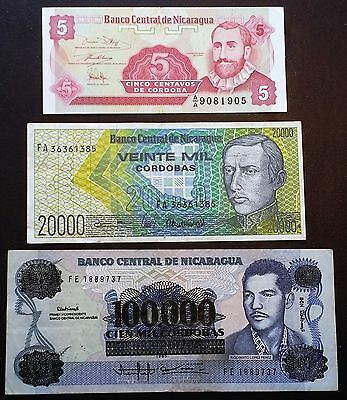 NICARAGUA: Lot of 3 Notes 100000 20000 5 Cordobas P-159 160 168 - COMBINED S/H