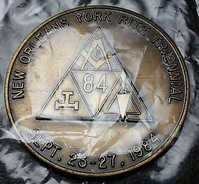 Masonic Medal 1984 New Orleans 35th & 59th Triennial - Cryptic Masons - Sealed