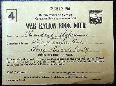 U.S. WWII War Ration Book No. 4 - Many Remaining Stamps