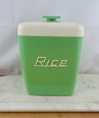 Vintage Nally Ware Green RICE Canister Australian 1960s