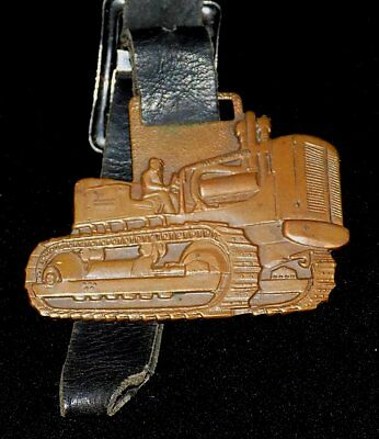 Vintage ALLIS CHALMERS Advertising Brass WATCH FOB with LEATHER STRAP