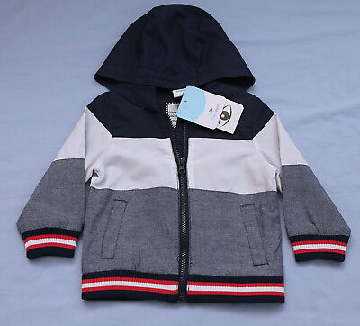 Boy's Blue White & Red Lined Hooded Jacket Size 18 mos - 24 mos NWT