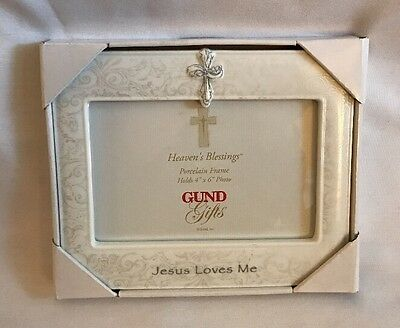 Gund Heaven's Blessings Frame Porcelain Cross Picture Photo 4x6 Jesus Loves Me