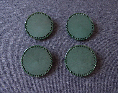 4 Vintage Carved Rim Marbled Green Galalith Large Buttons