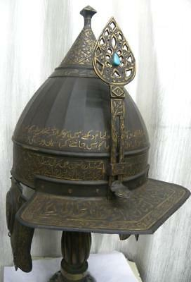 Vintage Turkey Ottoman Warrior Helmet Arabic Calligraphy Jewel Fitted