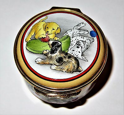 Halcyon Days Enamel Box - Puppy Dogs Playing - Balls & Slipper - Assorted Breeds
