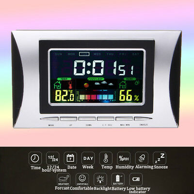 Wireless Digital LCD Hygrometer Thermometer Humidity Time Clock Room Indoor