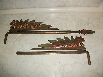 Vintage Antique Swing Arm Curtain Rod Drapery Drapes Adjustable Ornate Cast Iron