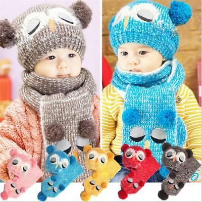 Baby Boys Girls Kids Winter Cat Warm hat Scarf Gloves/set Beanie Caps LC