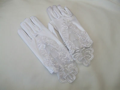 Bridesmaid White Satin Gloves, Flower Embroidery, Sequins & Pearl Beads Detail