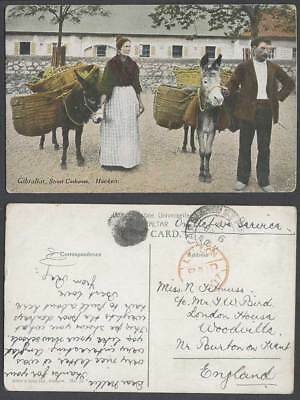 Gibraltar Red London Paid pmk. 1917 Old Postcard Street Costumes Hawkers Donkeys