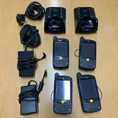 4 X Motorola MC659B Handheld Barcode Scanner PDA All Batterys & 2 Charging Docks