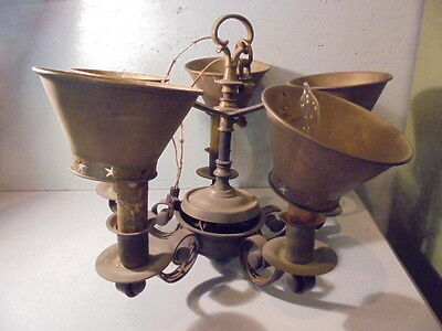 Antique Brass 5 Arm Ceiling Light Fixture Western Country W/Shades Works