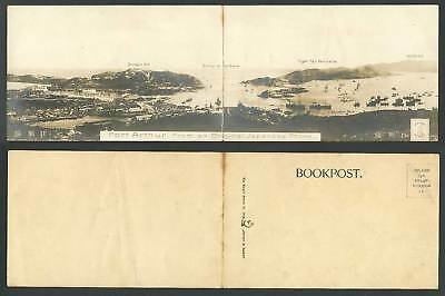 China MAP Panorama 2 Attached Old Photo Postcards Port Arthur Wolfs Hill Harbour