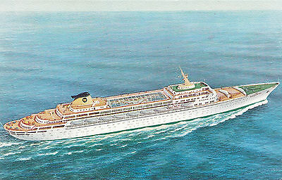 Home Lines Cruise Ship S.S. OCEANIC 1965-85 Artist Signed Advertising Postcard