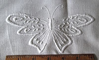antique pillow layover/runner, wh linen w 2 butterfly hand embroideries 56x29""