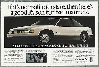 1988 OLDSMOBILE CUTLASS 2-page advertisement Canadian advert white Cutlass coupe
