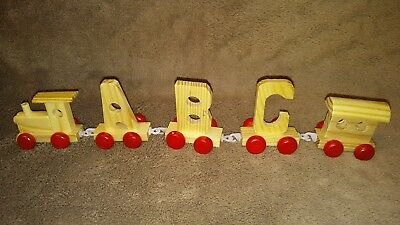 Full 26 letter Alphabet & 10 Numbers Toy Wood Train Set Gift + Engine & Carriage