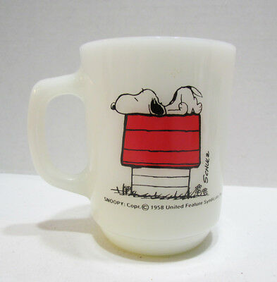 SNOOPY FIRE KING MILK GLASS MUG CUP I THINK I'M ALLERGIC TO MORNING! 1970's