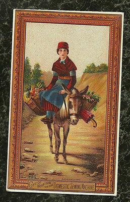 1886 Woman on Donkey with Baskets Vegetables Domestic Sewing Machine Trade Card
