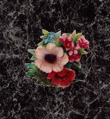 """Pale Pink & Red Poppies Small Chromolith Victorian Die Cut Scrap 2 x 1.5"""""""