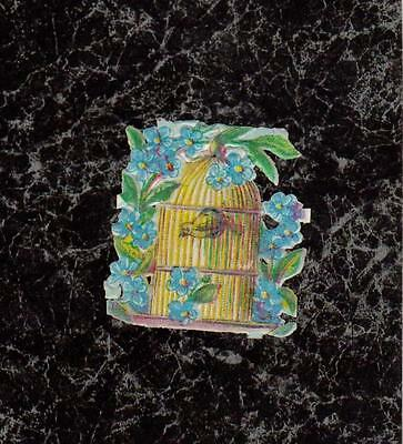 """Bird in Cage & Forget-me-nots Small Chromolith Victorian Die Cut Scrap 1.5x1.25"""""""