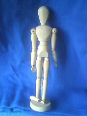 """WOODEN UNISEX JOINTED ARTISTS MODEL - ON STAND - appx 12"""" TALL - VGC"""