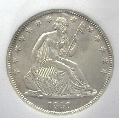 1840 Seated Silver 50 Cents Rev. Of 38' Near Choice Uncirculated Very Rare In Bu