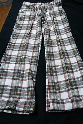 1970s Vintage FLANNEL COTTON FLARED BELL BOTTOM PLAID JEANS PANTS