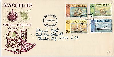 First day cover, Seychelles, Scott #464-67, Famous ships, 1981