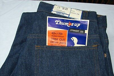 1970S Deadstock Vintage Thumbs Up Sears Indigo Blue Denim Jeans 29 X 31