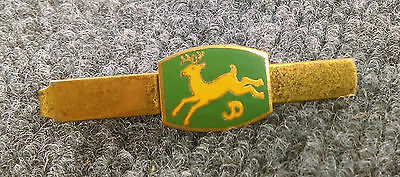 Vintage John Deere Tie Clasp Clip Bar 4-Legged Logo Four Green/Yellow Gold Tone