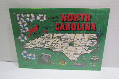 Greetings From North Carolina Jigsaw Frame Tray Puzzle Still Sealed State Map