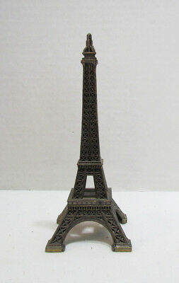"Eiffel Tower Paris France Souvenir Metal Building Paperweight 5"" Tall Vintage"